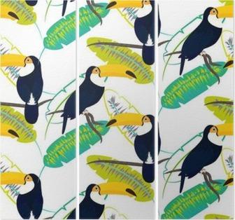 Drieluik Toco toekan vogel op bananen bladeren naadloze vector patroon op een witte achtergrond. Tropische jungle blad en exotische vogels zittend op tak.