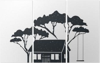 Schommel In Huis : Sticker vector hand getrokken stijl zwart wit poster met huis