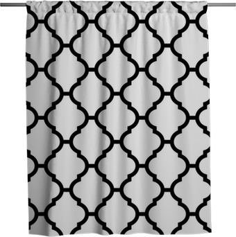 Duschdraperi Moroccan seamless mönster i svart och vitt