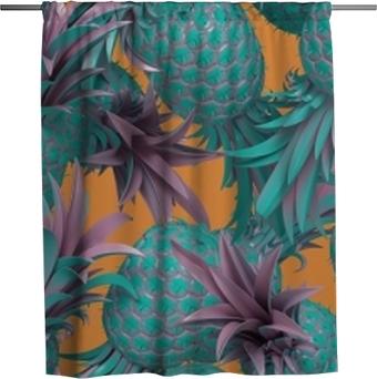 Duschgardin 3d rendering av ljus tiki stil sömlös mönster med ananas. sommar rolig bakgrund. trendig affisch med levande färger, pastellblå.