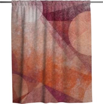 Duschgardin Abstrakt modern geometrisk bakgrundsdesign med olika texturer och former, flytande cirklar kvadrerar diamanter och trianglar i orange vit och burgunder rosa färger, konstnärlig komposition layout