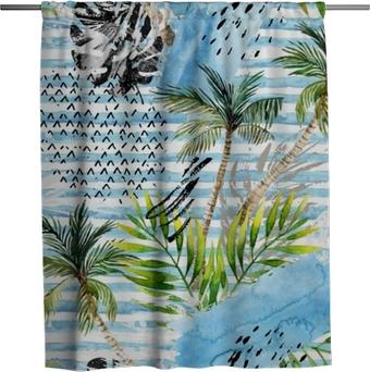 Duschgardin Abstrakt vattenfärg sommar sömlösa mönster.