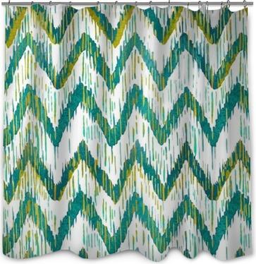 Duschgardin Akvarell ikat sparre seamless. Grön och blå vattenfärg. Bohemisk etniska samling.