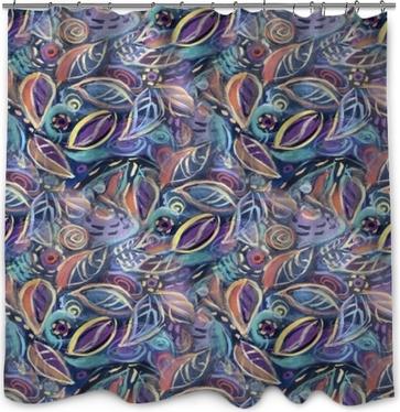 Duschgardin Färgrik bakgrund med löv, akrylmålning. abstrakt löv sömlös mönster bakgrund för din design bakgrundsbilder, mönster fyllningar, webbsidor bakgrunder, yta texturer.