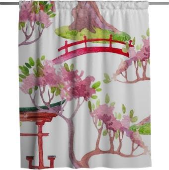 Duschgardin Japanska sömlösa mönster