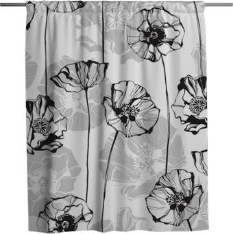 Duschgardin Svartvitt sömlöst mönster med vallmor. handritad blommig bakgrund.