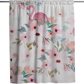 Duschgardin Vattenfärg sömlösa mönster. blommigtryck med flamingo