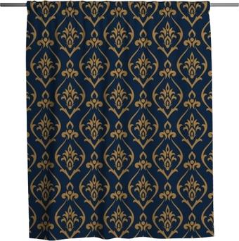Duschvorhang Damastmuster Vektor. Designdruck für Tapeten, Stoff oder Geschenkpapier. abstrakter Luxus Hintergrund.