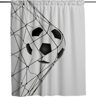 Duschvorhang Fußball im Netz Gate