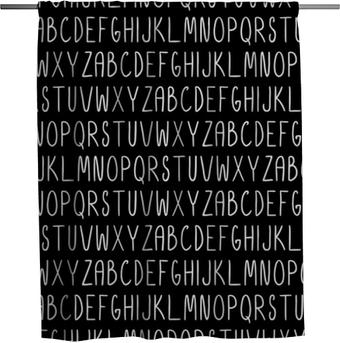 Duschvorhang Nahtloses Muster mit Alphabet. Vektor nahtlose Textur für Tapeten, Musterfüllungen, Webseitenhintergründe
