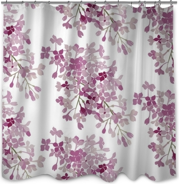 Duschvorhang Nahtloses Muster. rosa Blumen lila. Vektor Hintergrund Banner.