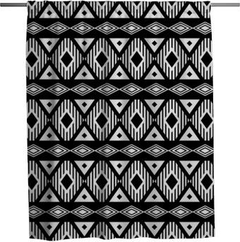 Duschvorhang Trendy nahtlose Schwarz-Weiß-Muster. Moderne Boho-Stil, ethnisch, geometrisch. Modische Muster für Kleidung, Verpackung, Hintergrund. Vektor.