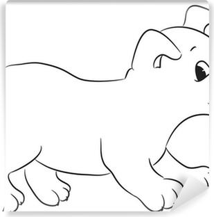 Anahatlı Sevimli Karikatür Köpek Vektör çizim çıkartması Pixerstick