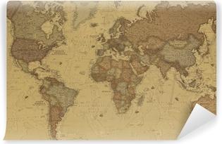 Vinil Duvar Resmi Antik Dünya haritası