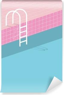 Vinil Duvar Resmi Bağbozumu tarzı yüzme havuzu. Eski Retro pembe karoları ve beyaz merdiven. Yaz afiş arka plan şablonu.