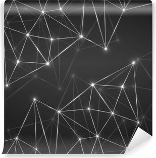Vinil Duvar Resmi Bağlantı noktaları ve hatları ile soyut geometrik arka plan. Modern teknoloji kavramı. Poligon yapı
