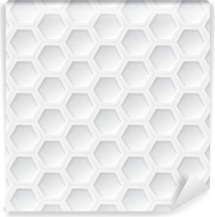 Vinil Duvar Resmi Beyaz 3d altıgen sorunsuz desen