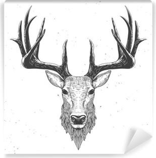 Vinil Duvar Resmi Beyaz üzerine geyik kafası