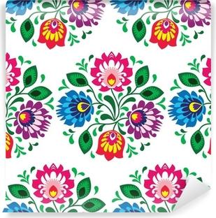 Vinil Duvar Resmi Beyaz üzerine Polonya dikişsiz geleneksel floral pattern
