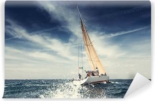 Vinil Duvar Resmi Beyaz yelkenleri ile gemi yat Yelkenli