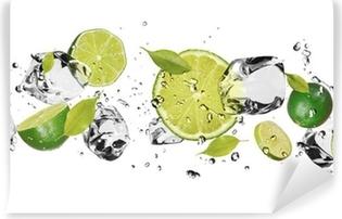 Vinil Duvar Resmi Beyaz zemin üzerinde buz meyve