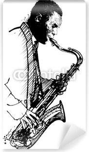 Vinil Duvar Resmi Beyaz zemin üzerine elle çizim saksofoncu