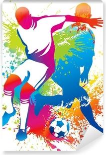 Vinil Duvar Resmi Bir futbol topu ile futbol oyuncuları