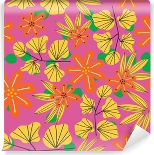 Vinil Duvar Resmi Botanik çiçek seamless modeli. vektör çiçek baskı. çiçek arka plan tekstil kumaş tasarımı.