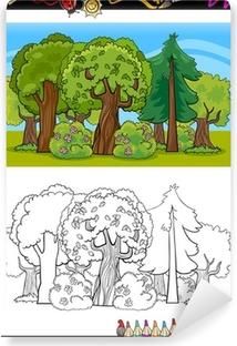 Boyama Kitabı Için Ağaçlar Ve Orman Karikatür Poster Pixers