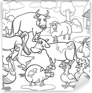 Boyama Kitabı Için çiftlik Hayvanları Karikatür Poster Pixers