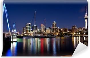 Vinil Duvar Resmi Bridge ile at Night Auckland, Yeni Zelanda, Skyline