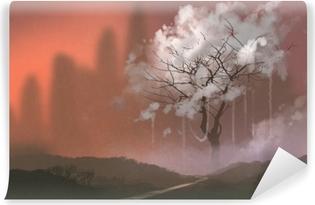 Bulut Agaci Illustrasyon Boyama Duvar Resmi Pixers Haydi