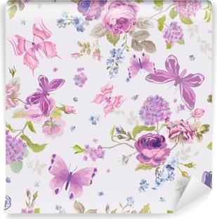 Vinil Duvar Resmi Butterflies- Dikişsiz Çiçek Shabby ile Bahar Çiçekleri Arkaplan