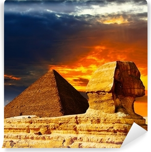 Vinil Duvar Resmi Büyük Sfenks ve günbatımı Piramitleri