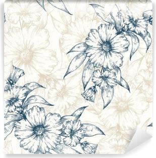 Vinil Duvar Resmi Çiçek vektör desen