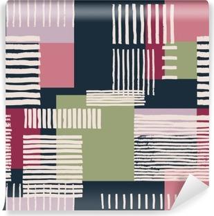 Vinil Duvar Resmi Çizgili geometrik seamless pattern. El renkli dikdörtgenler, ücretsiz düzeni düzensiz çizgiler çizilmiş. lacivert zemin üzerine pembe ve yeşil tonları. Tekstil tasarımı.