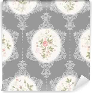 Vinil Duvar Resmi Dantel ile ve sorunsuz floral pattern gri arka plan üzerinde buket gül