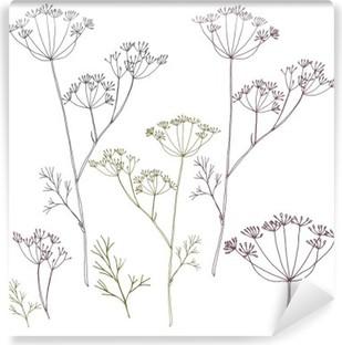 Vinil Duvar Resmi Dereotu veya rezene çiçekleri ve yaprakları.
