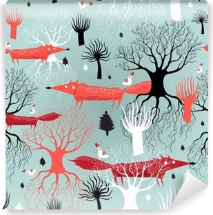 Vinil Duvar Resmi Desen ağaçları ve tilki
