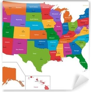 Vinil Duvar Resmi Devletler ve başkentleri ile Renkli ABD haritası