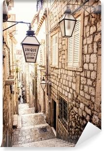 Vinil Duvar Resmi Dik merdivenleri ve Dubrovnik eski şehir dar sokak