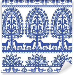 Vinil Duvar Resmi Dikişsiz çiçek Polonya halk sanatı desen Wycinanki Kurpiowskie - Kurpie Papercuts