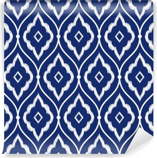Vinil Duvar Resmi Dikişsiz çivit mavi ve beyaz eski Farsça ikat desen