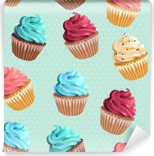 Vinil Duvar Resmi Dikişsiz cupcakes ve puantiyeli