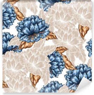 Vinil Duvar Resmi Dikişsiz Grafik çiçek deseni