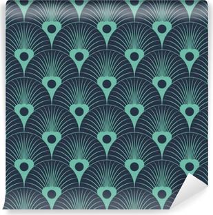 Vinil Duvar Resmi Dikişsiz neon mavi art deco çiçek overlaying model vektör