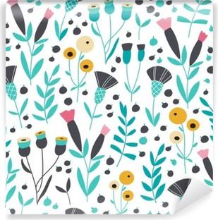 Vinil Duvar Resmi Dikişsiz parlak İskandinav floral pattern