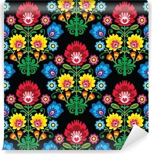 Vinil Duvar Resmi Dikişsiz Polonya halk sanatı çiçek deseni - wzory lowickie