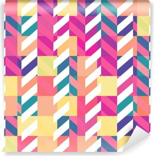 Vinil Duvar Resmi Dikişsiz renkli geometrik desen