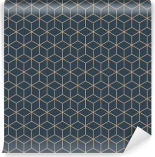 Vinil Duvar Resmi Dikişsiz tan mavi ve kahverengi izometrik küpler model vektör